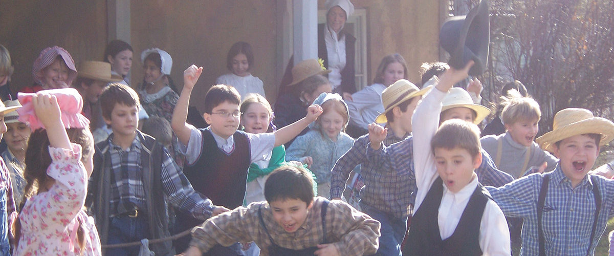 Children dressed in period costume at Ireland House Museum