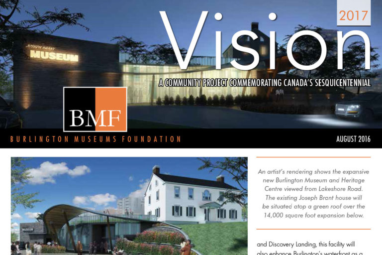 Cover of Burlington Museums Foundation August 2016 newsletter
