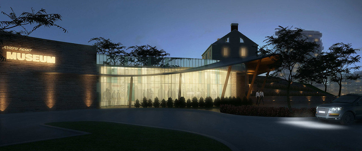 Joseph Brant Museum architects conceptual drawing of front of museum at night