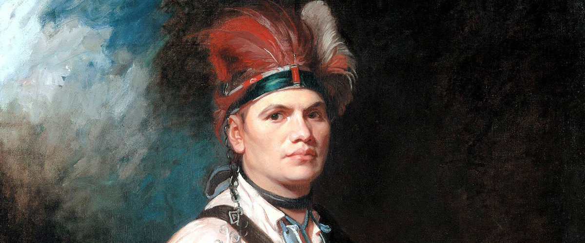 Oil painting of Joseph Brant in full head dress by George Romney