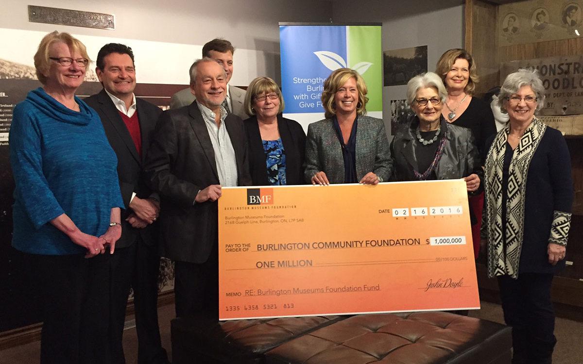 Burlington Museums Foundation present a cheque