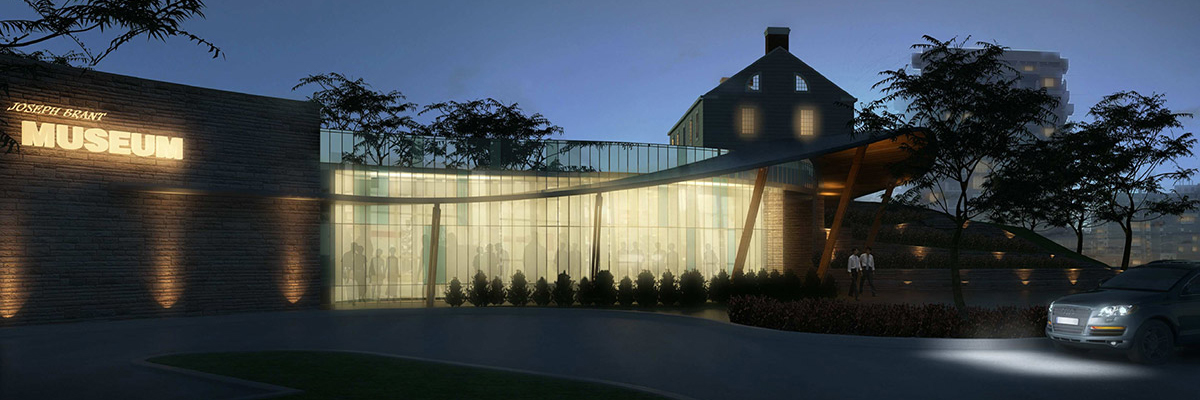 Chamberlain Architects Joseph Brant Museum expansion night time concept drawing
