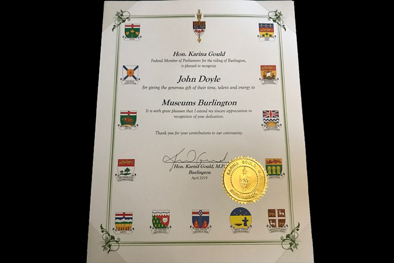 Canadian government certificate of recognition to John Doyle