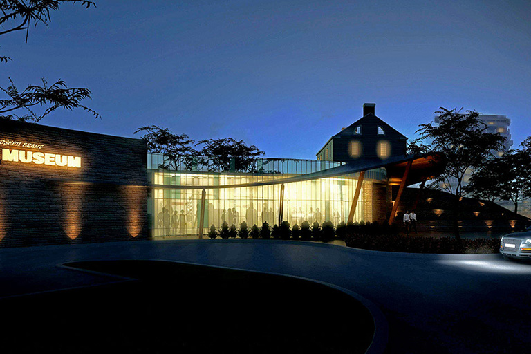 Artist representation of the new Joseph Brant Museum at night
