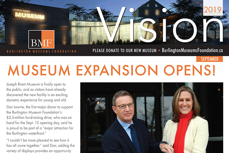 Burlington Mayor Marianne Meed Ward is joined by Burlington Museums Board Chair Larry Waldron in declaring the expanded Joseph Brant Museum open to the public.