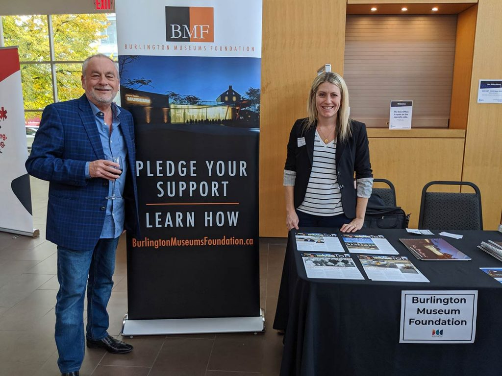 Cheryl Jorritsma, Development Officer and Rob Stonehewer, board member helping to raise funds and friends for the Burlington Museums Foundation at a Burlington Chamber of Commerce Business After 5 event.